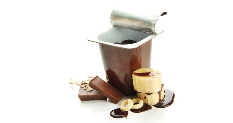 Chocolate cream in a plastic cup